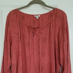 Eyelet Peasant Top ~ Dusty Burnt Red ~  L